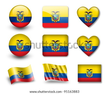 The Ecuador flag - set of icons and flags. glossy and matte on a white background. - stock photo