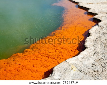 The Edge of Champagne Pool at Wai-O-Tapu  geothermal area in  New Zealand - stock photo