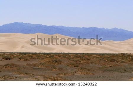 The edge of the Gobi Desert, Mongolia - stock photo