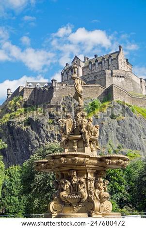 The Edinburgh castle seen from Princess Street Gardens - stock photo