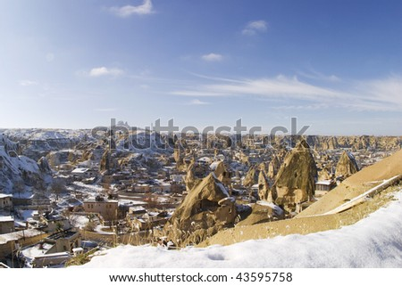 the eerie carved and hollowed out structures of Goreme Cappadocia Turkey during the freezing winter months