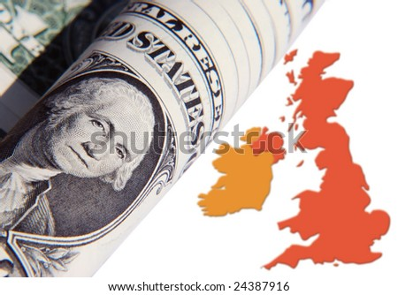 The effect of US Dollar over UK economy - stock photo