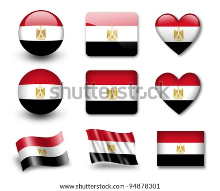 The Egyptian flag - set of icons and flags. glossy and matte on a white background. - stock photo