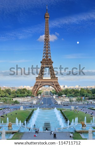 The Eiffel Tower and fountains de Varsovie seen at evening from Trocadero in Paris, France. - stock photo