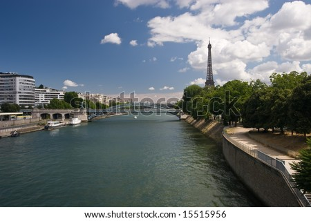 The Eiffel Tower and River Seine in Paris on a summers day.