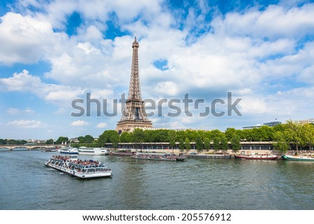 The Eiffel Tower and seine river in Paris, France - stock photo