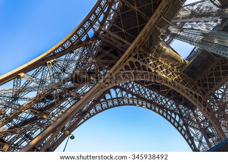 The Eiffel Tower architecture from below, Paris - stock photo