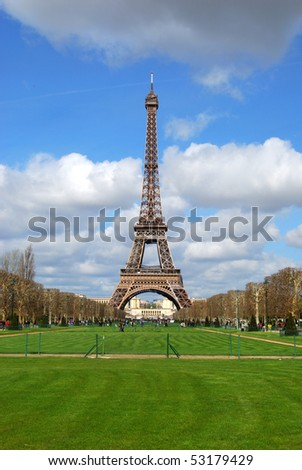 The Eiffel Tower as seen from the Champ de Mars in Paris, France