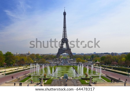 The Eiffel tower as seen from the Trocadero square, Paris, France - stock photo