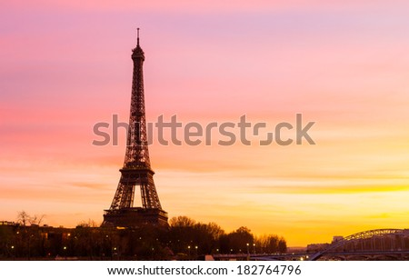 The Eiffel Tower at Sunset with space on the right for copy space - stock photo