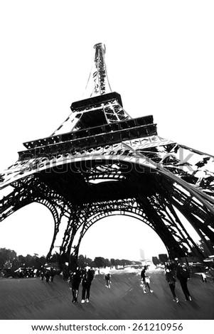 The Eiffel Tower hand drawn illustration - stock photo