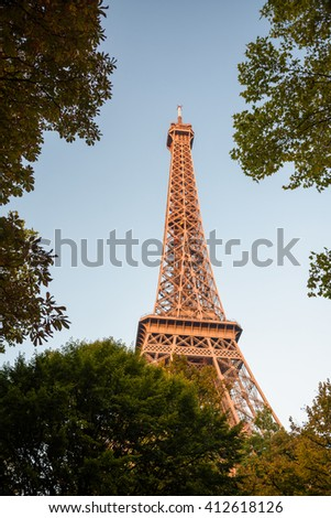 The Eiffel Tower in Champ de Mars, Paris, France