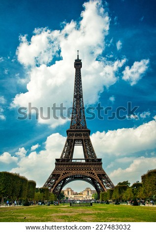 The Eiffel Tower in Paris during beautiful day