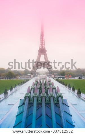 The Eiffel Tower in Paris. Edit in romantic colour effect. - stock photo