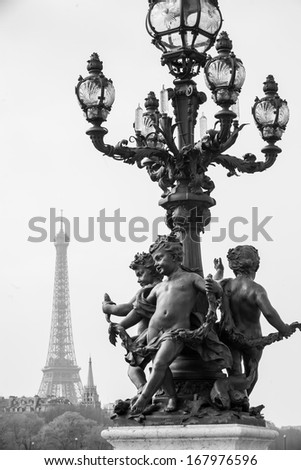The Eiffel tower in Paris France black and white - stock photo