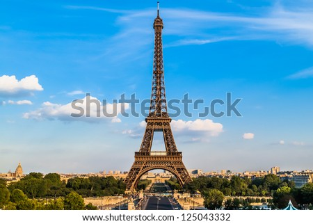 the eiffel tower in the city of Paris in france - stock photo
