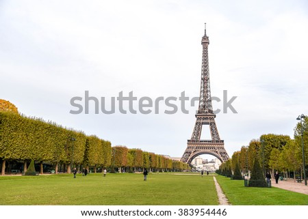 The Eiffel Tower, landmark and famous attraction in Paris, France