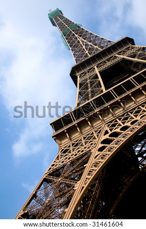 The Eiffel Tower of France shot from below. - stock photo