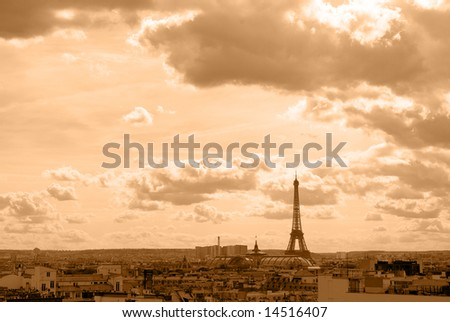 The Eiffel Tower old-fashioned - paris France - stock photo