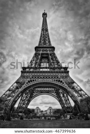The Eiffel Tower, Paris. Black and white.