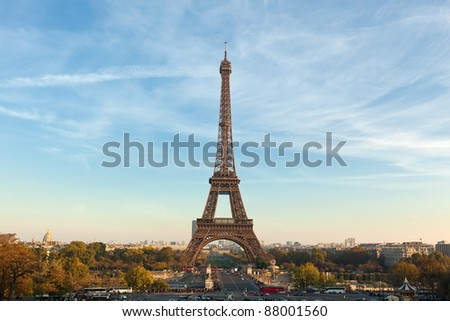The Eiffel Tower,Paris. Built in 1889, it has become both a global icon of France and one of the most recognizable structures in the world. - stock photo