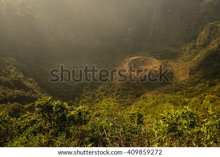 The El Boqueron crater just outside of San Salvador City - stock photo