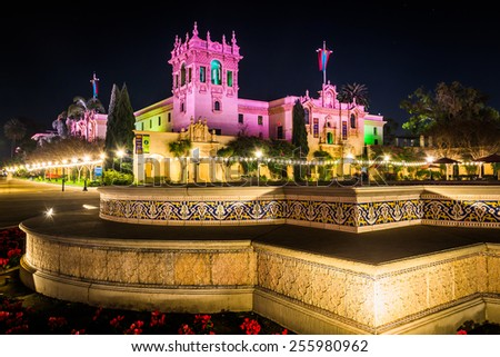 The EL Prado Restaurant at night in Balboa Park, San Diego, California.