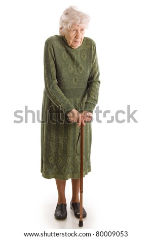 The elderly woman isolated on white background - stock photo