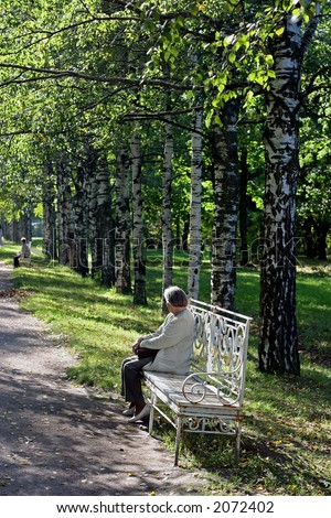The elderly woman on a bench in park - stock photo