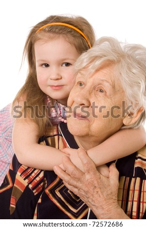 The elderly woman with the grand daughter