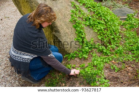 The elderly woman working in the garden