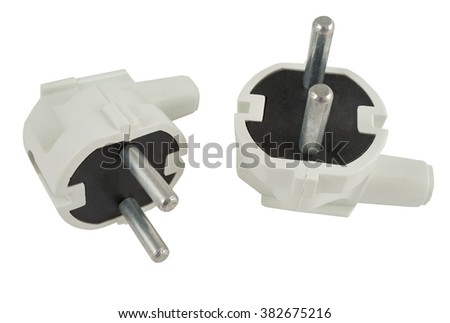 the electric plug on a white background - stock photo