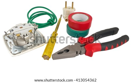 The Electrician tool on a white background - stock photo