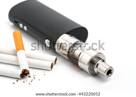The electronic cigarette, new technology can replace the regular cigarettes - stock photo