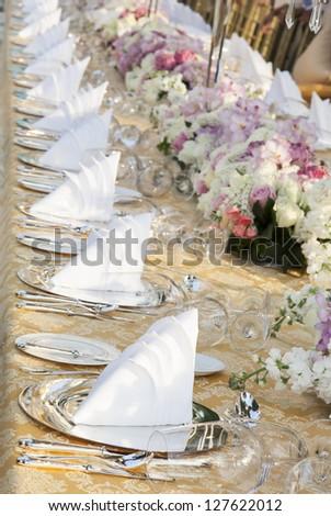 The elegant dinner table. - stock photo