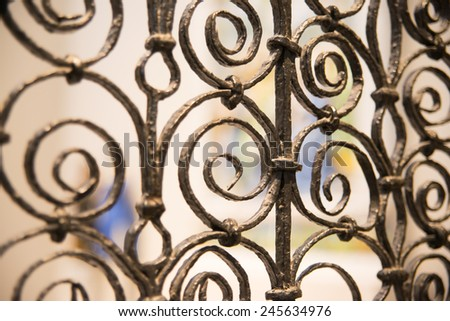 The element of the wrought iron fence