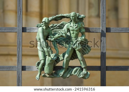 The elements of decor on the facade of the Metropolitan Cathedral of Saints Vitus, Wenceslaus and Adalbert. Prague. Czech Republic. - stock photo