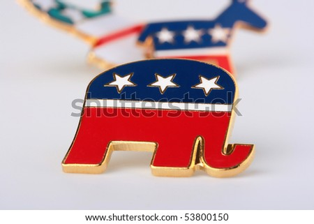 The elephant - a Republican Party symbol in the USA, is used in the pre-election company. - stock photo