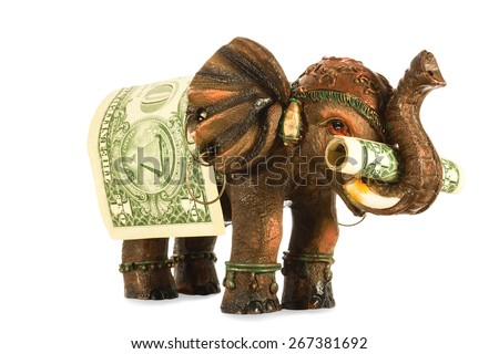 the elephant brings dollar, a mascot for business people