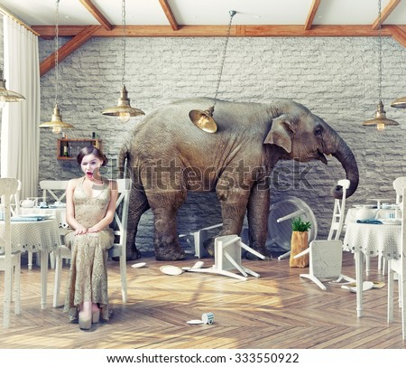 the elephant calm in a restaurant interior. photo combination concept - stock photo