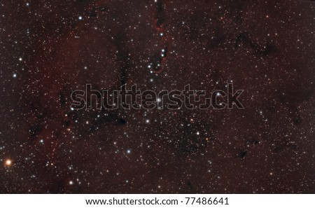 The Elephant's Trunk nebula is a concentration of interstellar gas and dust in the star cluster IC 1396 and ionized gas region - stock photo