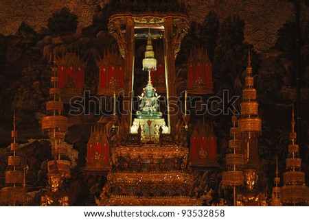 The emerald buddha in Wat Phra Kaew, Thailand - The most famous buddha in Thailand - stock photo