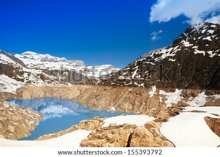 The Emosson hydroelectric Dam near village of Chatelard, Swiss on the border with France - stock photo