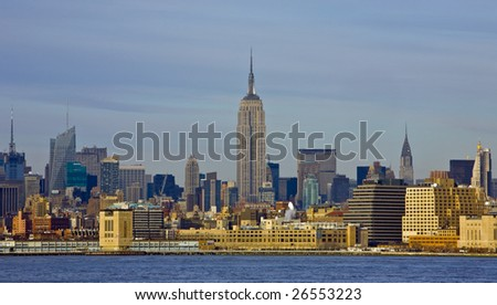 The Empire State Building and New York City Skyline - stock photo