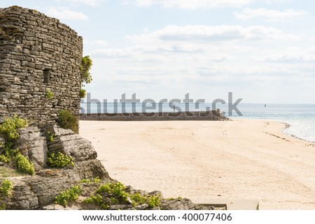 the empty Beach of Barneville Carteret, France, Normandy - stock photo