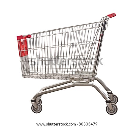 The empty cart for purchases on the white