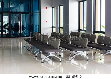 The empty departure lounge at the airport  - stock photo