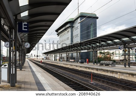 The empty platform with control tower of Frankfurt Main station, Germany