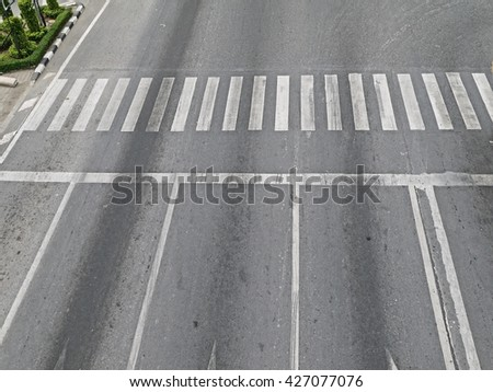 The empty road with pedestrian crossing, high angle view. - stock photo