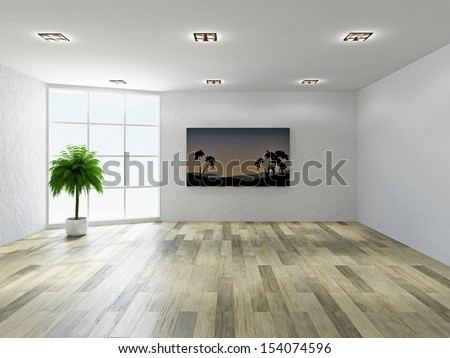 The empty room with stucco wall and a big  windows - stock photo